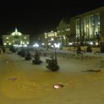 Тестральная площадь в Черновцах. Фото зимой